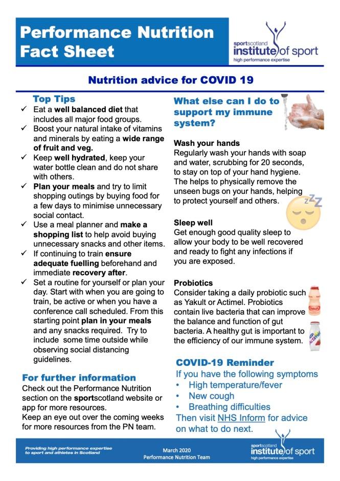 SIS factsheet Peformance Nutrition COVID 19 (dragged) 2