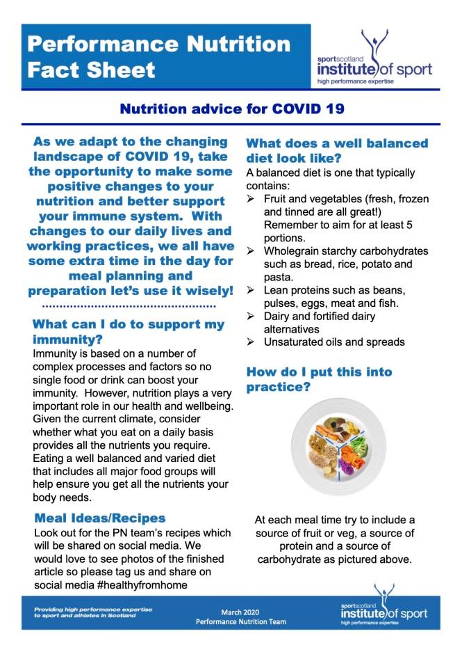 SIS factsheet Peformance Nutrition COVID 19 (dragged)